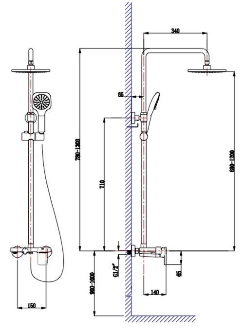 Верхний душ схема подключения